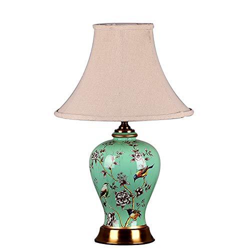 SACYSAC Lámpara de mesa de cerámica para dormitorio, lámpara de noche, lámpara de mesa de cerámica china en el salón y el despacho, interruptor de botón pulsador E27, puerto C