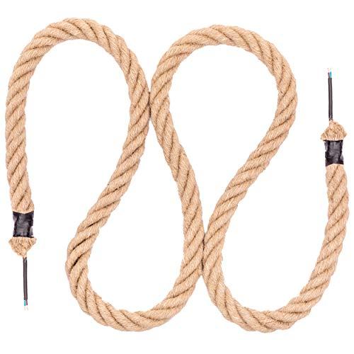 Seilwerk STANKE Cuerda de yute 25 mm con cable eléctrico 2x0,75 para lámpara de techo, lámpara colgante, lámpara retro, longitud 10 m
