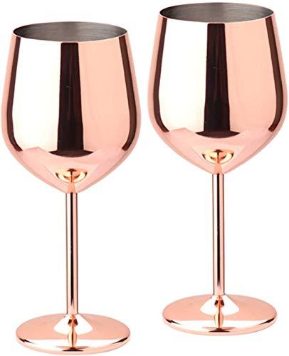 D L D Copa de vino de acero inoxidable de metal inastillable Copa de vino inastillable Copa de vino de champán Jugo de bebida (2 piezas de oro rosa)