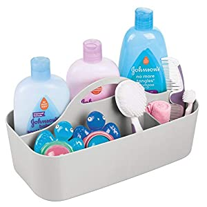 mDesign Plastic Portable Nursery Storage Organizer Caddy Tote – Divided Basket Bin with Handle – Holds Bottles, Spoons, Bibs, Pacifiers, Diapers, Wipes, Baby Lotion – BPA Free – Large – Light Gray
