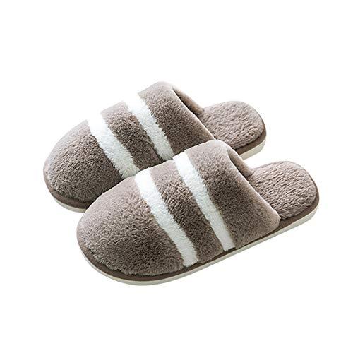 FLZTCEG Rayas Pantuflas de hombre, invierno caliente algodón zapatillas de interior del hogar antideslizante Plus Pareja terciopelo zapatillas de piso Inicio Zapatos de piel deslizadores cómodos de es