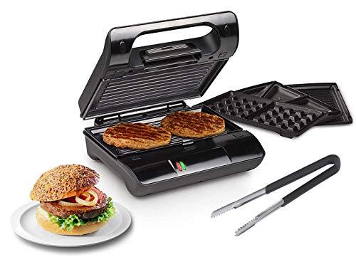 Kontaktgrill mit Grillzange, Waffeleisen & Sandwichmaker 3in1 auswechselbare Platten, 23x13cm