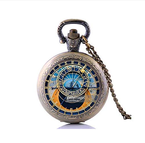 Astronomical Globe - Collar de reloj de bolsillo, colgante de cristal, joyería de ciencia de astronomía vintage