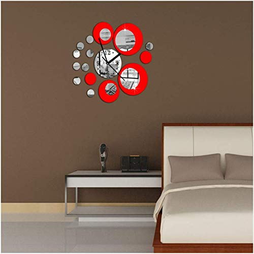 Vovotrade 1Pc 40 * 60Cm Fashion Red Circle Around 3D Wall Clock Wall Sticker Fai da te Art Home Decoration Aaa Batterie Nuovo