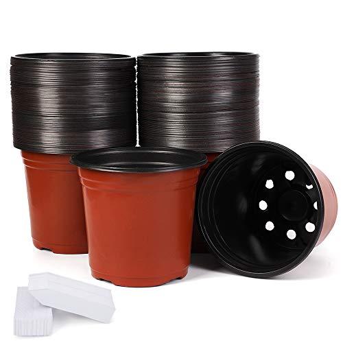 JERIA 100-Pack 6 Inch Plastic Plant Nursery Pots Come with 100 Pcs Plant Labels,...