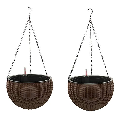 Self-Watering Hanging Planter Baskets with Water Reservoir & Fill Indicator