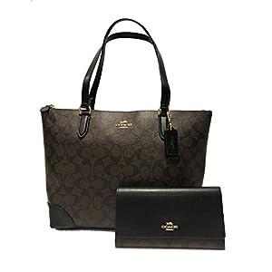 Fashion Shopping New Coach C Signature Purse Hand Bag & Wallet Matching 2 Piece Set Black Brown