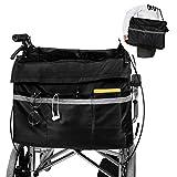 Maxjaa Bolsa lateral para reposabrazos impermeable y duradera bolsa de almacenamiento para sillas de ruedas, bolsa de gran capacidad para silla de ruedas con bolsillos, ganchos y sujetadores adyuables