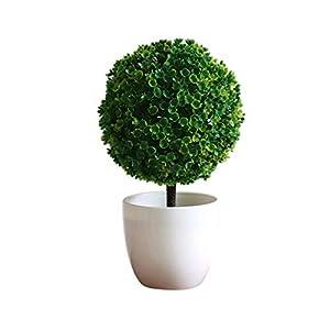 SHUNYUS Simulation Plant Pots, Artificial Design Sakura Snowballs Potted Hand-Made Plants Potted Artificial Flower Decorative Pots-#1, Green