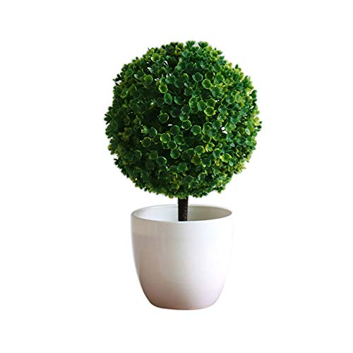Haihuic Árboles de Bola de arbustos de Topiary Artificial de 25 cm Mini Plantas de Mesa de imitación con macetas Blancas para el hogar, baño, decoración de la casa Verde
