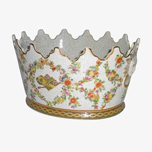 Better & Best P Onda Jockey bloempot van porselein, versierd met bloemenmotieven, met rand in kroonvorm, afmetingen 20 x 20 x 16 cm, zwart