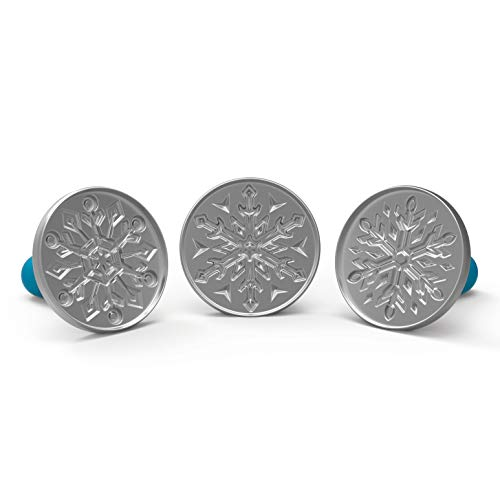 Nordic Ware Disney Frozen 2 Falling Snowflake Cast Cookie Stamps, Set of 3, Silver with Blue Handles