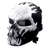 Máscara de esqueleto para Halloween, máscara de airsoft, máscara táctica de paintball, juego de fiesta (rejilla metálica negra)