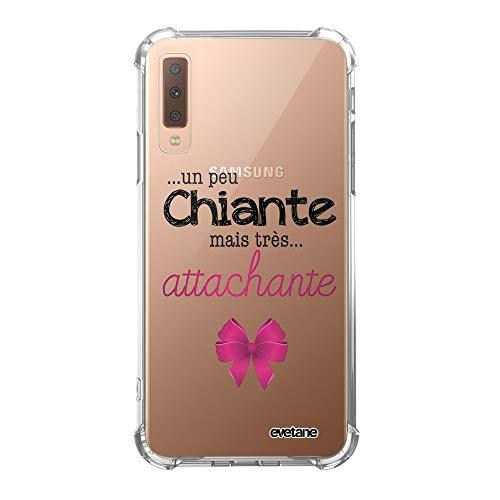Evetane Coque Compatible avec Samsung Galaxy A7 2018 Silicone Coins antichocs Solide Protection complète Resistant Transparente Un Peu Chiante Tres attachante Motif Ecriture Tendance