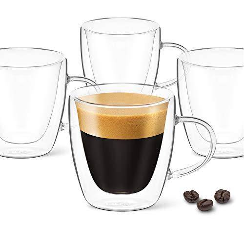 DLux Tazas de café expreso 3oz, Doble pared, Juego de 4 gafas de cristal transparente con asas, Taza de té de cristal de borosilicato aislado