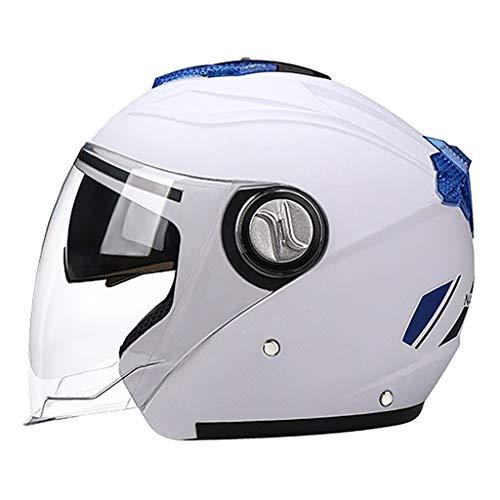 Sharplace Motocicleta de Cara Abierta Casco de Moto Deportes Al Aire Libre Ciclismo Seguridad Helemt - Blanco