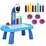 Tablero de dibujo Juego de pintura para proyector, Juego de dibujo para proyector de mesa para niños con 4 discos de imágenes diferentes 8 bolígrafos de color Juguetes de educación temprana (Blue)