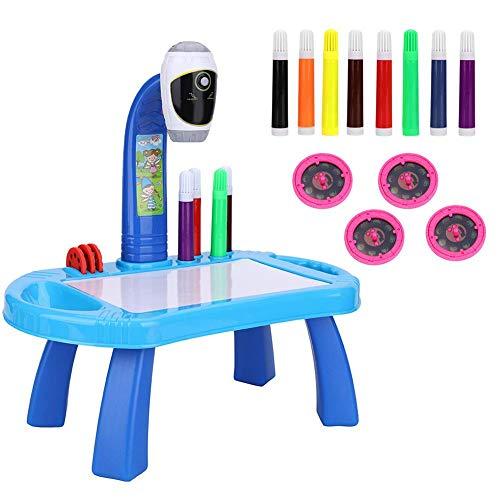 Tablero de dibujo Juego de pintura para proyector, Juego de dibujo para proyector de mesa para niños con 4 discos de imágenes diferentes 8 bolígrafos de color Juguetes de educación temprana (B
