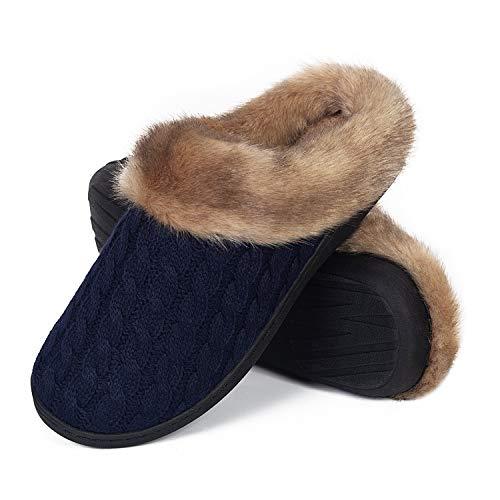 Damen Herren Hausschuhe Winter Memory Foam Pantoffeln Unisex Warm Plüsch und rutschfeste Indoor Bequem Slippers(Blau-K,42/43 EU)