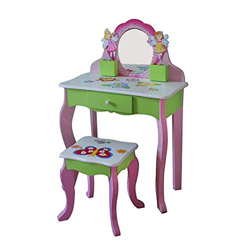 ZUQIEE Dining Chair Frisierkommode for Kinder Set, Waschtisch und Hocker - Kinder Tisch und Stuhl Set mit Spiegeln und Make-Up Fach-Speicher - Kinderzimmermöbel (Farbe: Pink, Größe: 88.5 * 31 * 61cm)