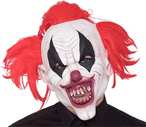 TK Gruppe Timo Klingler Halloween Horror Killer Joker Maske ab 18 Jahren für Herren und Damen aus Latex roter Clown Kostüm Verkleidung