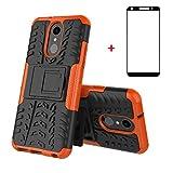 FullProtecter LG Q7 Hülle,Bumper Cover Schutz Tasche Handyhülle Schutzhülle Silikon TPU+PC Hardcase für LG Q7(Orange)+2 Stück Panzerglas Schutzfolie