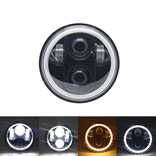 SOYAVISION 5 3/4' 5.75 High/Low Beam Projector LED Headlight with White DRL Amber Turn Signal Halo Ring for Harley Sportster, Dyna,...