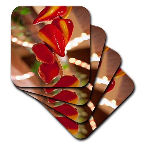 3dRose CST_52089_2 Ceramic Red Hot Chili Peppers Strung on String & Hanging on from a Ceiling in a Mexican Restaurant Soft Coaster (Set of 8)