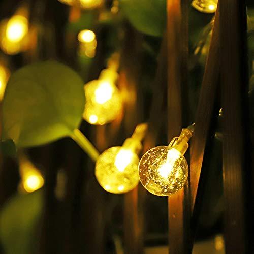 Cadena solar de luces LED Salcar de 5 metros, 20 gotas de agua de decoración, Solar Luz Cadena luminaria para navidad, fiestas, celebraciones (blanco cálido)