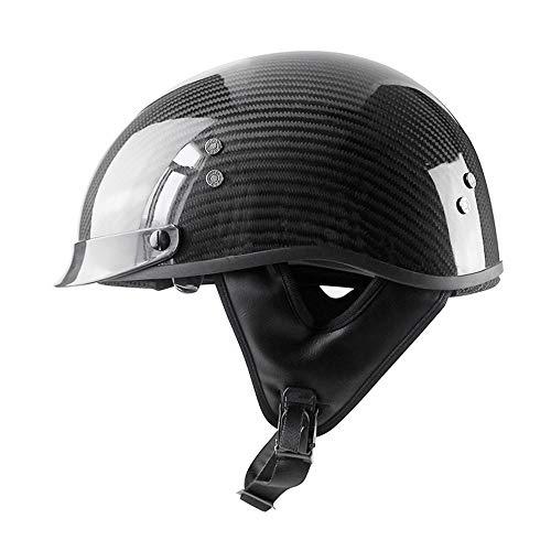Woljay Kohlefaser Motorradhelm für Erwachsene Vintage Half Helmets Drop Down Sonnenlinse (L, Schwarz Glänzend)