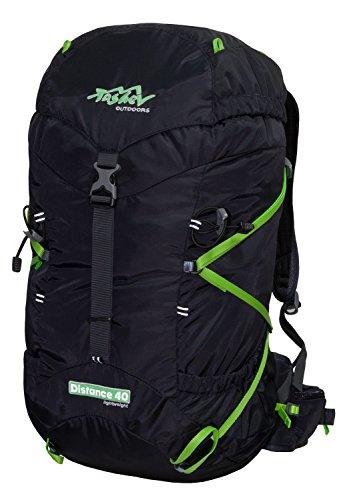 Tashev Outdoors Sac à dos de randonnée avec compartiment pour boire Distance 40 Système ultra léger, Distance 40L, Noir et vert