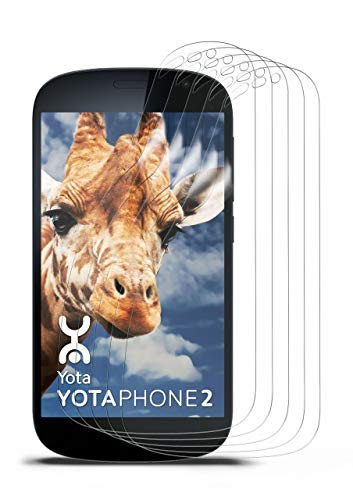 moex Kristallklare HD Schutzfolie kompatibel mit Yotaphone 2 | Bildschirmschutzfolie Kratzfest + fast unsichtbar, Ultra Klar 5x Stück