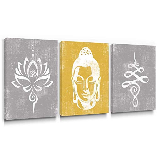 Takfot Rustic Wall Art Buddha Paintings Vintage Lotus Flower Prints Yellow and Gray Zen Home Decor Framed Artwork for Yoga SPA Living Room Bedroom 12x16 Inch, 3 Panels