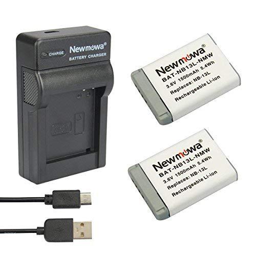 Newmowa Batería de Repuesto (2-Pack) y Kit de Cargador para Micro USB portátil para Canon NB-13L, PowerShot G5X, G7X, G7 X Mark II, G9X, G9 X Mark II, G1 X Mark III, SX620 HS, SX720 HS, SX730 HS