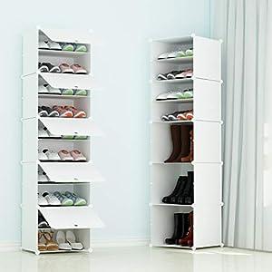JOISCOPE 組み立て式 シューズボックス 1列5扉10マス DIYブーツラック 靴箱 靴収納ボックス 防塵・防汚・防水 かび対策 大容量 おしゃれ 白い