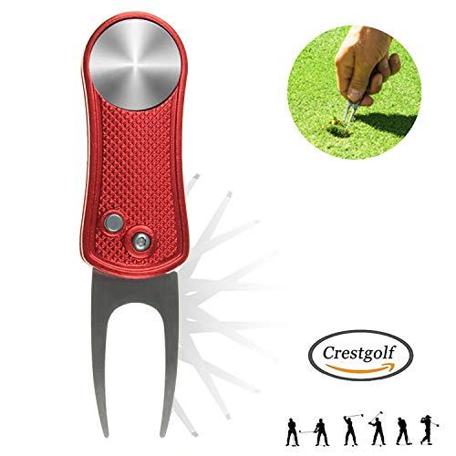 Crestgolf Golf Divot Tool Mit Pop-up-Taste und Magnetischer Kugelmarkierung Pitch Mark Leichtes Tragbares und Faltbares Mini-Tool(red)