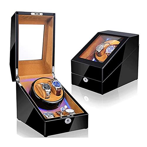 Boblen Reloj automático Winder, Polvo a Prueba de Polvo, Pintura de Piano, Caja mecánica silenciosa, Caja de Almacenamiento de balancín para 2 + 3 Reloj-Negro