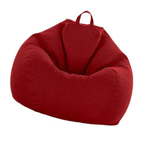 B Blesiya Sac de Haricot Pouf Coussin de Sol Siège Poire,Couverture de Meuble 90 * 110cm - Vin Rouge
