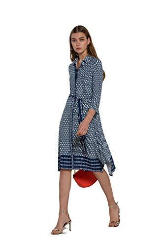 NAULOVER - Vestido Camisero para Mujer con Estampado de Cadenas en Azul Marino.