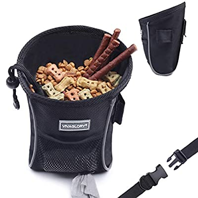 VIVAGLORY Dog Treat Bag, Sports Style & Enlarged Opening Dog Training Treat Bag with Detachable Waistband, Poop Bag Dispenser, Convenient to Carry Treats, Kibbles, Pet Toys, Black