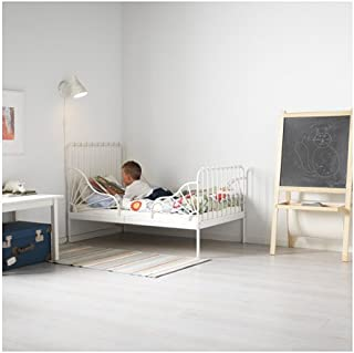 Ikea Ext bed frame with slatted bed base, white , 38 1/4x74 3/4