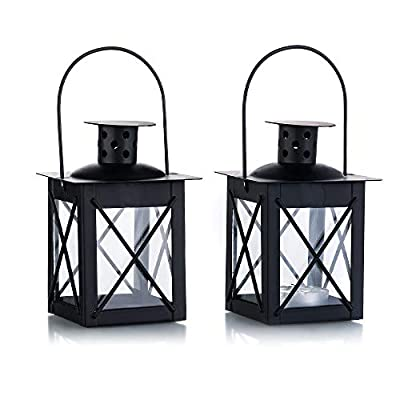 Nuptio Vintage Black Metal Mini Decorative Candle Lanterns Tealight Candle Holder & Led Tea Light Candleholder Decoration for Birthday Parties Wedding Centerpiece Relaxing Spa Setting