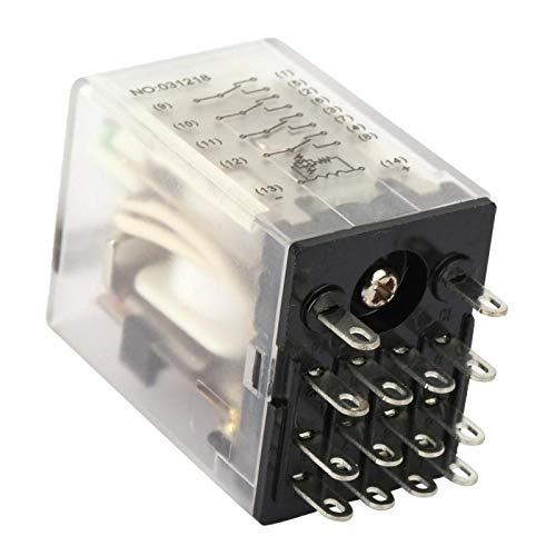 Relé intermedio de potencia, 12 V CC, 14 pines, relé intermedio, para...