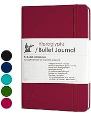 Hieroglyphs Bullet Journal/notitieboek A5 dotted - met Nederlandstalige methode - genummerde pagina's, opbergvak, drie leeswijzers, elastieken sluiting