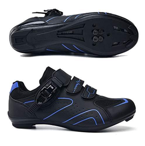Govoland Highway Shoes De Bicicleta Zapatos Deportivos para Hombres Femenina Profesional Carretera Bicicleta Bloqueo De Encaje(41, Blue)