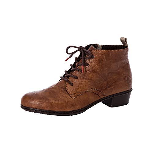 Rieker Damen Stiefeletten, Frauen Schnürstiefelette, Boot kurz-Stiefel schnür-Bootie übergangsschuh,Braun(Cuoio),39 EU / 6 UK