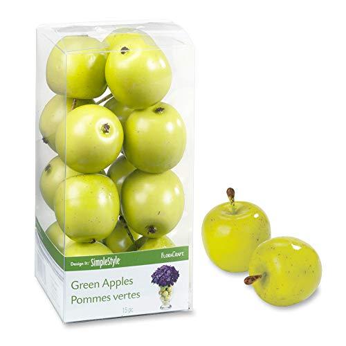 FloraCraft Design It Simple-Fruta Decorativa (15 Unidades), diseño de Manzanas Verdes