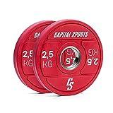 Capital Sports Nipton 2021 - Discos de pesas, Anillo interior de acero, Abertura universal de 50,4 mm, Caucho endurecido, 2 x 2,5 kg, Rojo