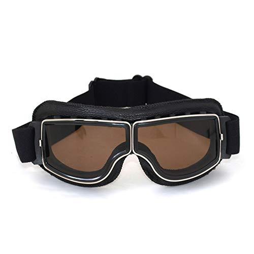 Vintage Motorradbrillen Schutzbrille für Aviator, schwarz/Amber Brillenglas