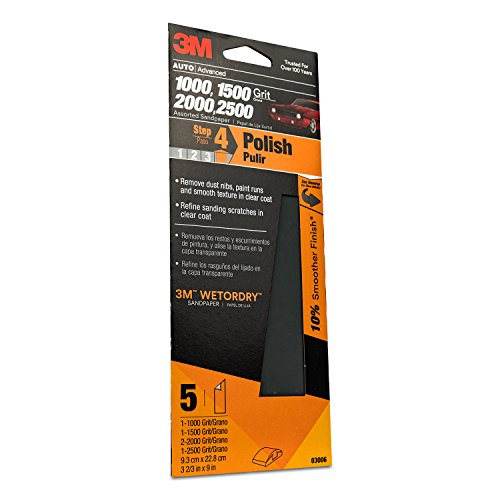 3M Auto Wet Or Dry Sandpaper 3 2/3 in x 9 in, 1000, 1500, 2000, 2500 Assorted Grit Pack, 5 Sheets